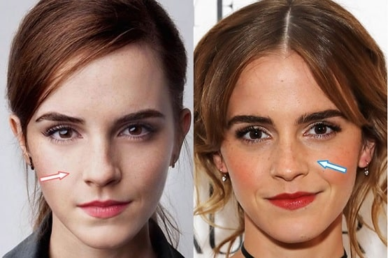 A picture of Emma Watson before (left) and after (right).