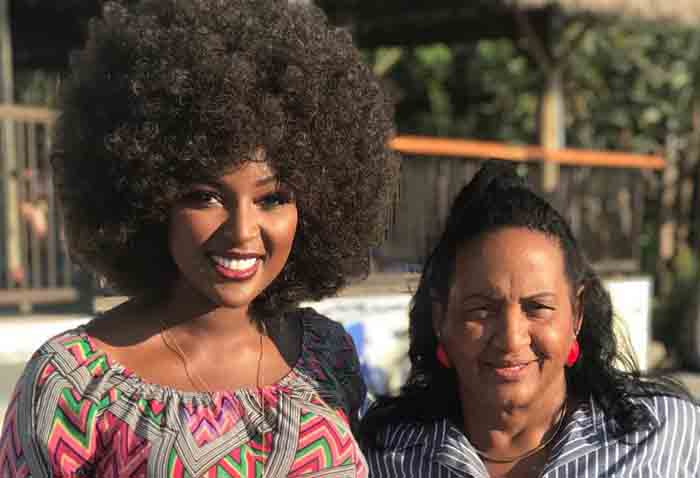 Ana Maria Oleaga and her daughter Amara La Negra taking picture together