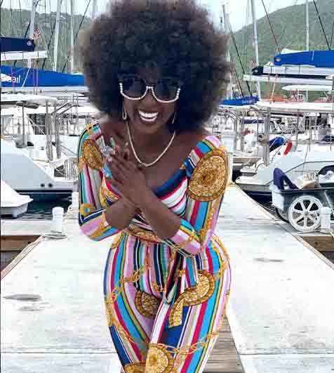 Amara La Negra poses for a picture before her ride in Yacht.