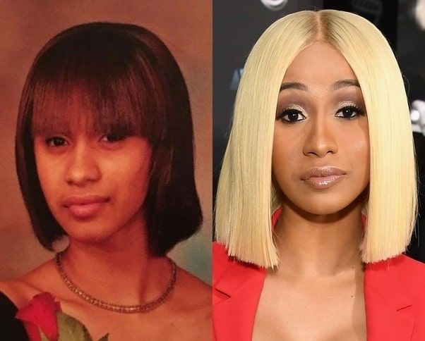 A picture of Cardi B before (left) and after (right).