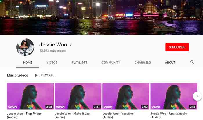 Jessie Woo official YouTube channel.