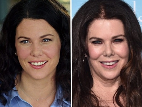 A picture of Lauren Graham before (left) and after (right).