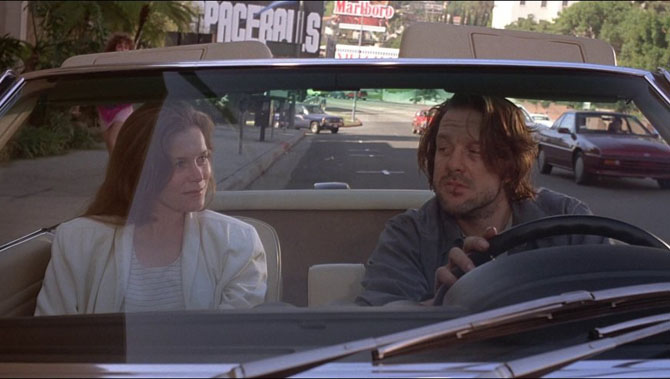 Alice Krige and Mickey Rourke caught together in a car.