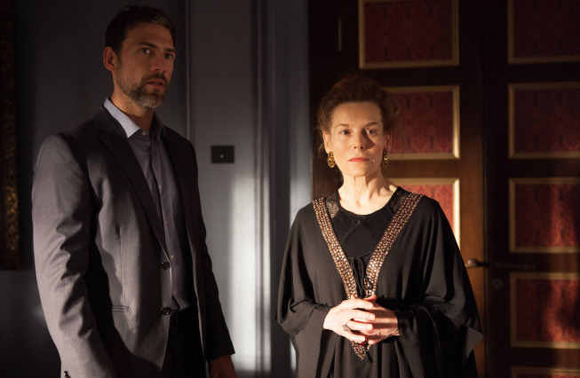 Alice Krige and Adam Rayner in set of the Tyrant (2014).