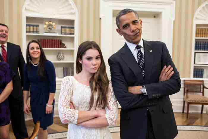"Barack Obama poses with ""Not Impressed"" facial expression along with Maroney."