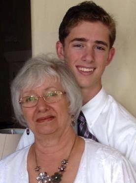 A picture of Chris Carroll with her grandson Daniel (Aaron's son).