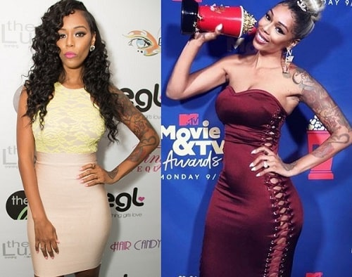 A picture of Adizia Bambi Benson before (left) and after (right).