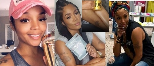 A picture of all tattoos of Rasheeda.