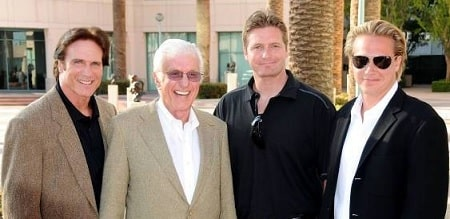 A  picture of Carey Van Dyke with his dad Barry, Grandfather Dick and brother Shane Van Dyke.
