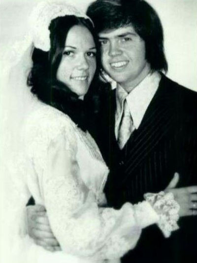 Mary Carlson and Merrill Osmond on their wedding day.