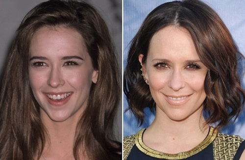 A picture of Jennifer Love Hewitt before (left) and after (right).