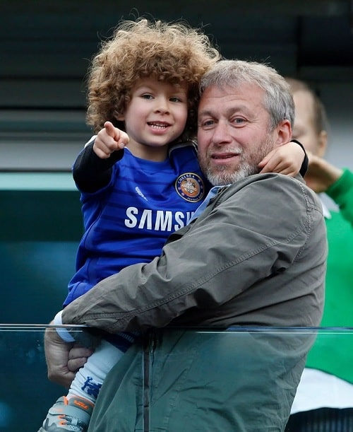 A picture of Aaron Alexander Abramovich attending football match with his dad.