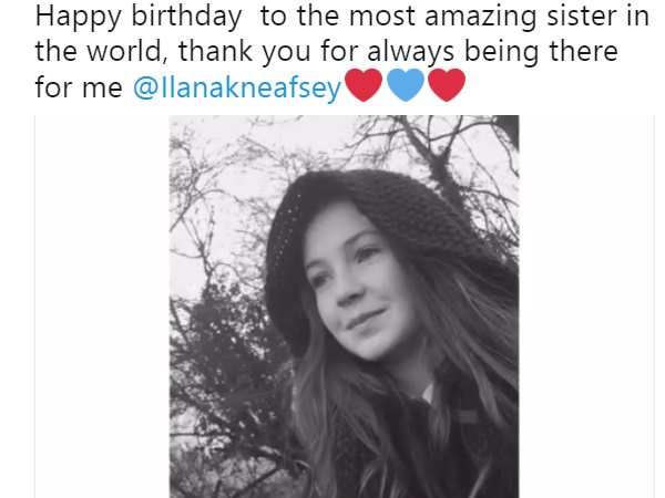 Honor Kneafsey celebrating Ilana's Birthday via twitter with her followers