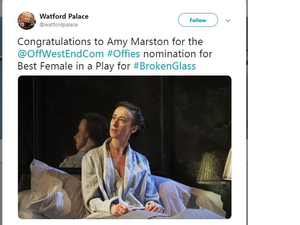 Amy Marston got a wish from Watford Palace nominated for the best female