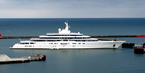 A picture of Eclipse Yacht of Roman Abramovich.