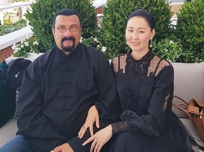 A picture of Steven Seagal with his wife Erdenetuya Batsukh.