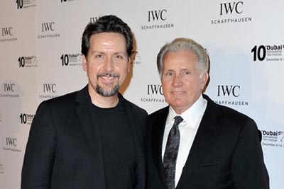 Ramon and Martin Sheen taking a picture together.