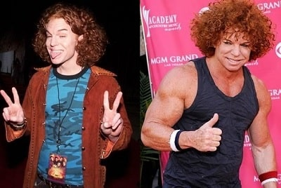 A picture of Carrot Top before (left) and after (right).
