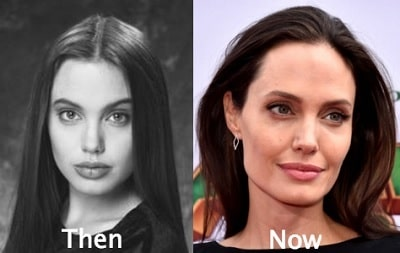 A picture of Angelina Jolie before (left) and after (right).