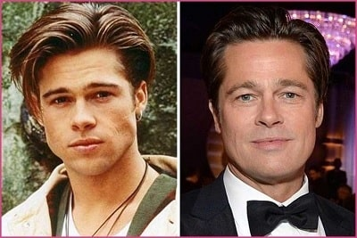 A picture of Brad Pitt before (left) and after (right).