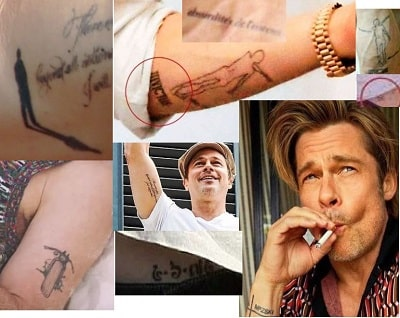 A picture of Brad Pitt's tattoos.