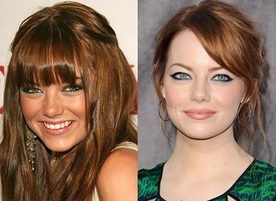 A picture of Emma Stone before (left) and after (right).