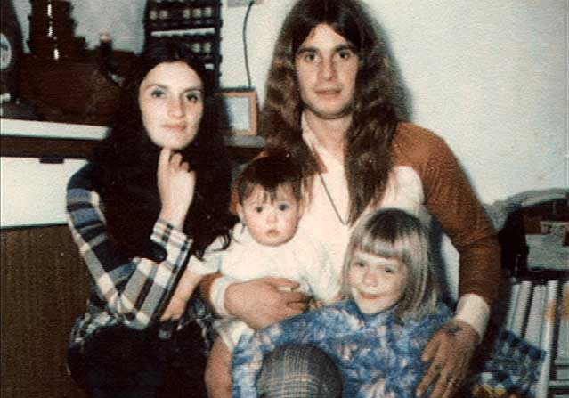Thelma Riley and Ozzy Osbourne pose for a picture with their children.