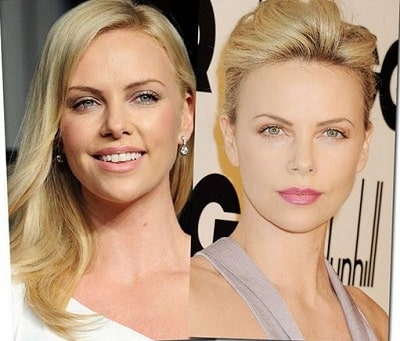 A picture of Charlize Theron before (left) and after (right).