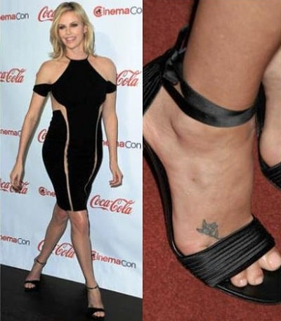 A picture of Flower tattoo on Charlize's foot.