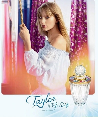 A picture of Taylor by Taylor Swift Made of Starlight perfume's pamphlet.