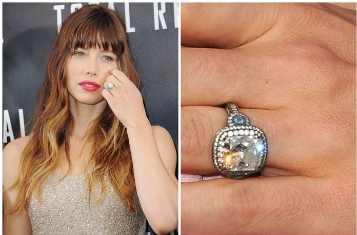 Jessica Biel's engagement ring seen while touching her hair