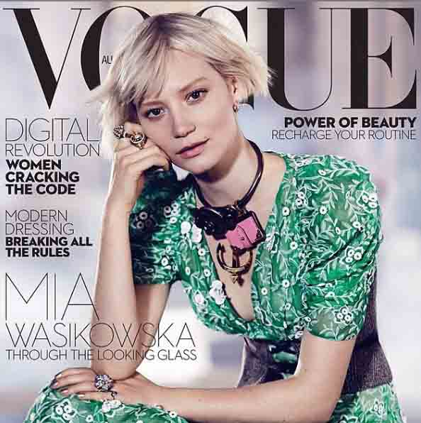 Mia Wasikowska in a cover of Vogue magazine.
