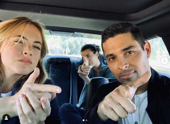 Wilmer Valderrama poses for a pic with his co-stars.