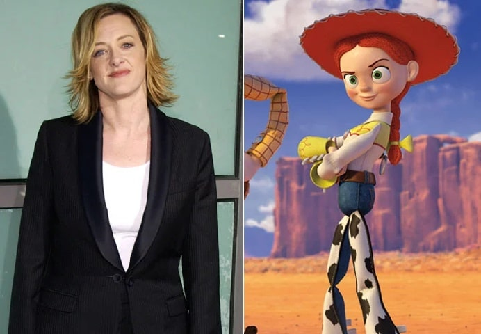 On the left Joan Cusack on her white top and black blazer while on the right Cowgirl aka Jessica of Toy Story