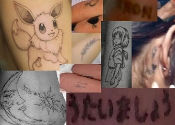 A picture of Ariana Grande's tattoos.