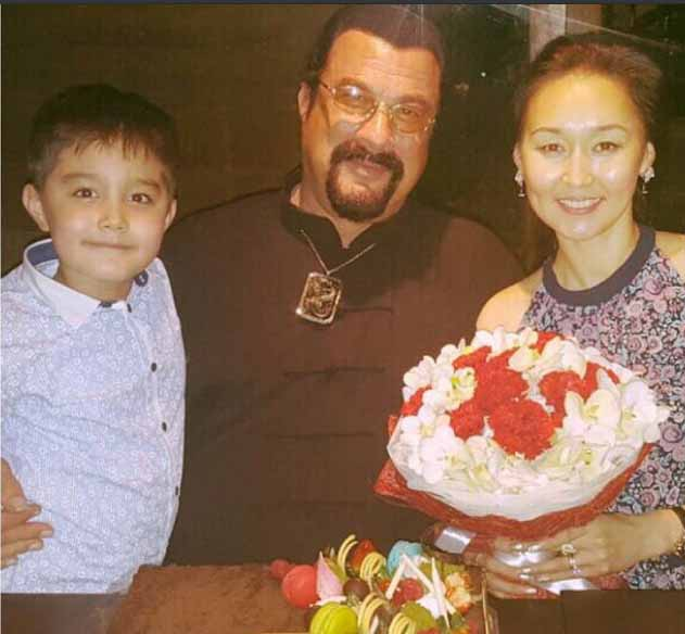 Erdenetuya Seagal poses for a picture with her family.