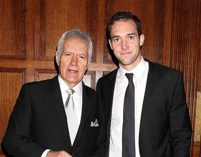 A picture of Mathew and Alex Trebek.