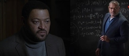 A picture of Langston Fishburne (left) and his father Laurence Fishburne (right) playing Bill Foster of two different ages in Ant-Man and the Wasp.