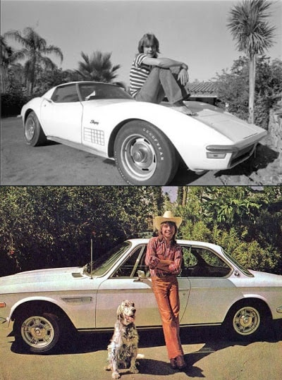 A picture of young David Cassidy with the cars he owned back then.