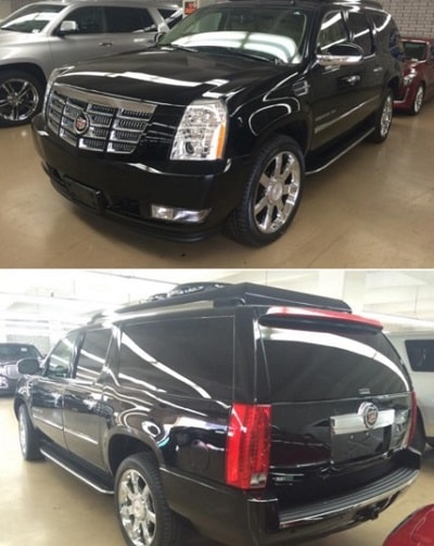 A picture of The 2016 Cadillac Escalade SUV of Lil Mo gifted by Katt Williams.