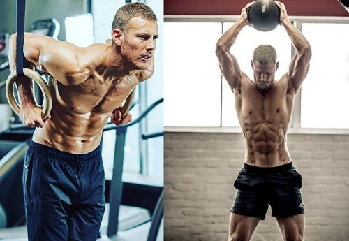 A picture of Tom Hopper has a very muscular and ripped body.