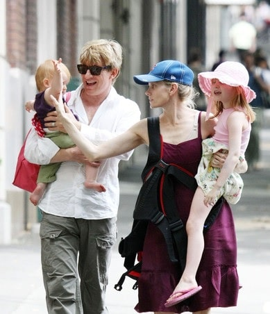 David Wenham with his wife Kate Agnew and two children Eliza and Millie Wenham.