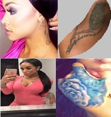 A picture of Hazel E's four tattoos.