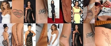 In picture, Erica Mena's all 10 tattoos are given.
