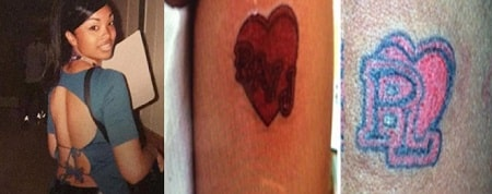 A picture of Princess Love's butterfly tattoo (left) and the matching tattoo (mid and right) with husband.