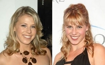 A picture of Before (left) and after (right) picture of Jodie Sweetin.