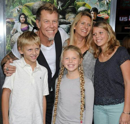 A picture of James Hetfield with his family.