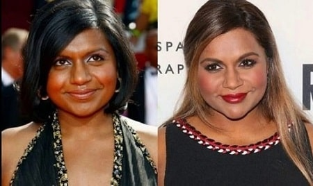 A before and after picture of Mindy Kaling.