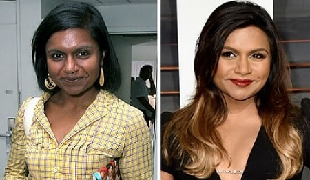 A before and after picture of Mindy Kaling's changing skin color.