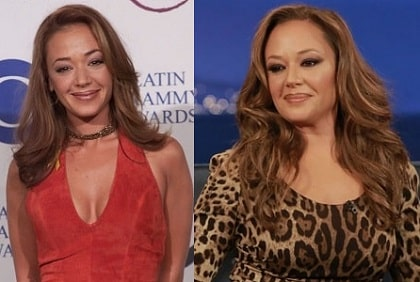 A before and after picture of Leah Remini.